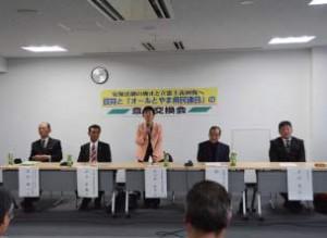 県内での野党共闘について意見をのべるひづめ県議